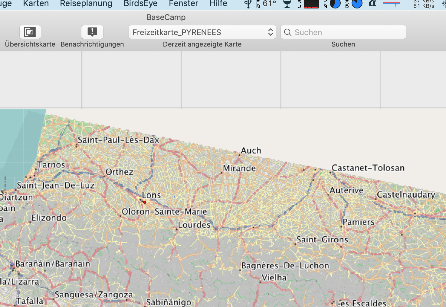 Kartenausschnitt in Basecamp der umgewandelten Karte